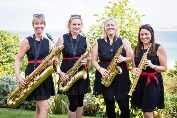 Four saxophonists in a row