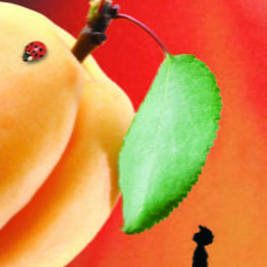 Image of a small silhouette looking up at a giant peach