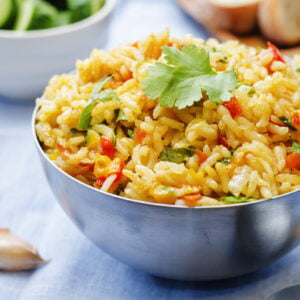 Mediterranean rice and vegetables in a bowl